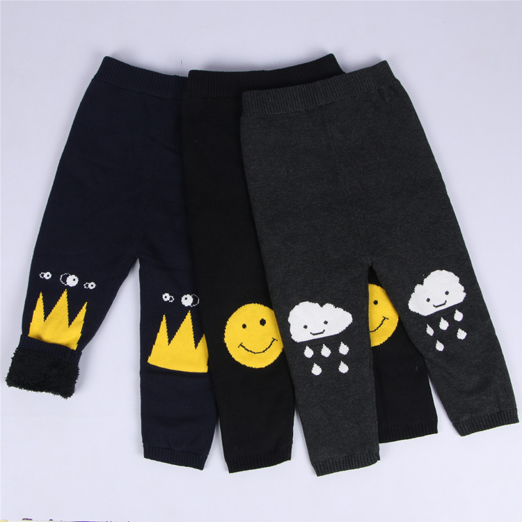 Fashion Ins Winter Cotton Childrens Knit Pants Smiling Face Clouds