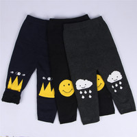 Mode INS Winter katoen kinderen Knit broek Lachend gezicht wolken crown patroon capri baby jongen meisje leggings met zachte dutje
