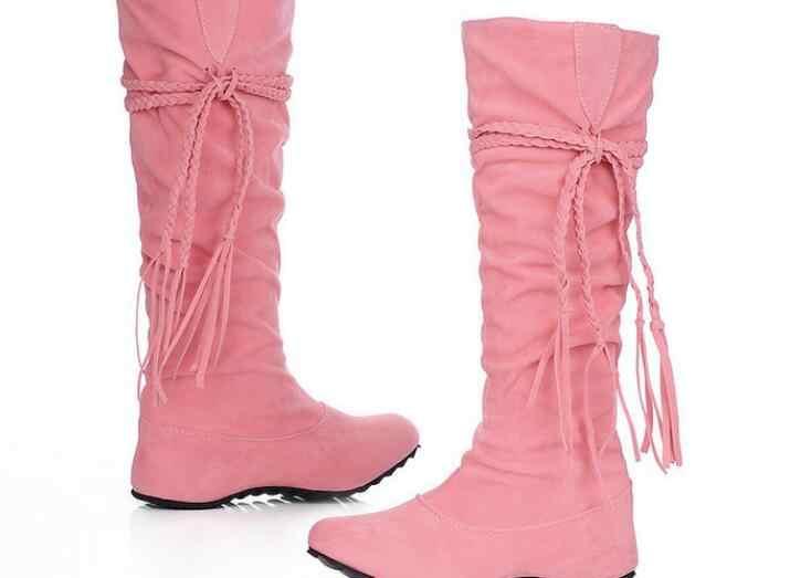 Phụ nữ Khởi Động mới Thời Trang màu hồng Giày Phụ Nữ Cộng Với Kích Thước Khởi Động Mùa Đông Rìa giày Cao Nữ Khởi Động Phụ Nữ Da Lộn Giày