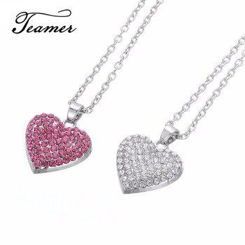 Teamer, recién llegado, moda, de cristal blanco de corazón COLLAR COLGANTE/rosa, Bola de diamantes de imitación de alta calidad, joyería, regalo de Vanlentine