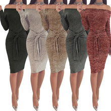 Temperament commuter sexy waist banded strap neck collar solid color tight midi skirt womens dress free shipping