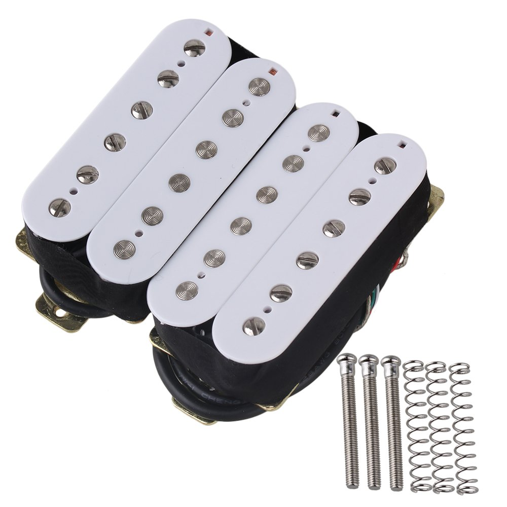 white dual rail humbucker neck pickups for electric guitar replacement parts set of 2 in guitar. Black Bedroom Furniture Sets. Home Design Ideas