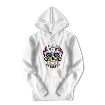 Harajuku Streetwear Hoody Sweatshirt Longsleeve White Skull Print Hooded Oversized Hoodies Boys Anime Black Coat for Men ZZW37