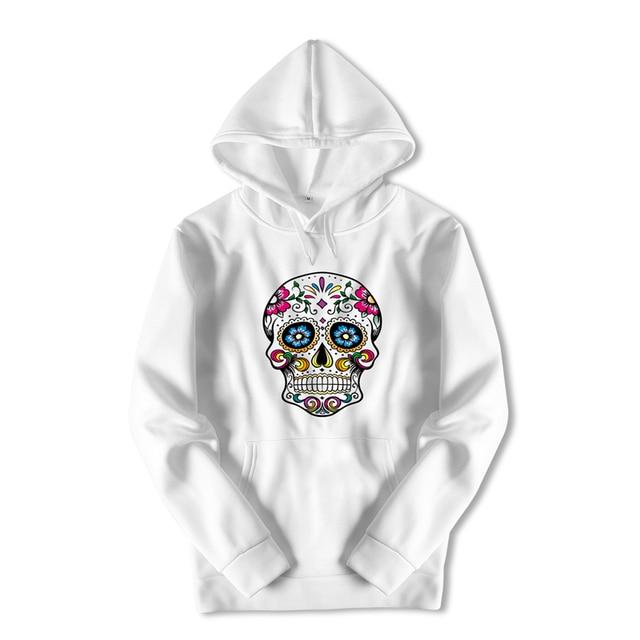 Harajuku Streetwear Hoody Sweatshirt Longsleeve White Skull Print Hooded Oversized Hoodies Boys Anime Black Coat for Men ZZW37