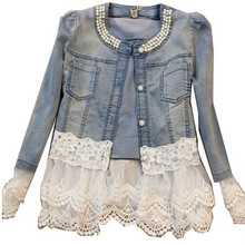 Spring Jackets 2016 new Women Outerwear Slim Lace Patchwork Long sleeve Denim Jacket Lady Vintage Jeans Jacket Lace JacketQW186