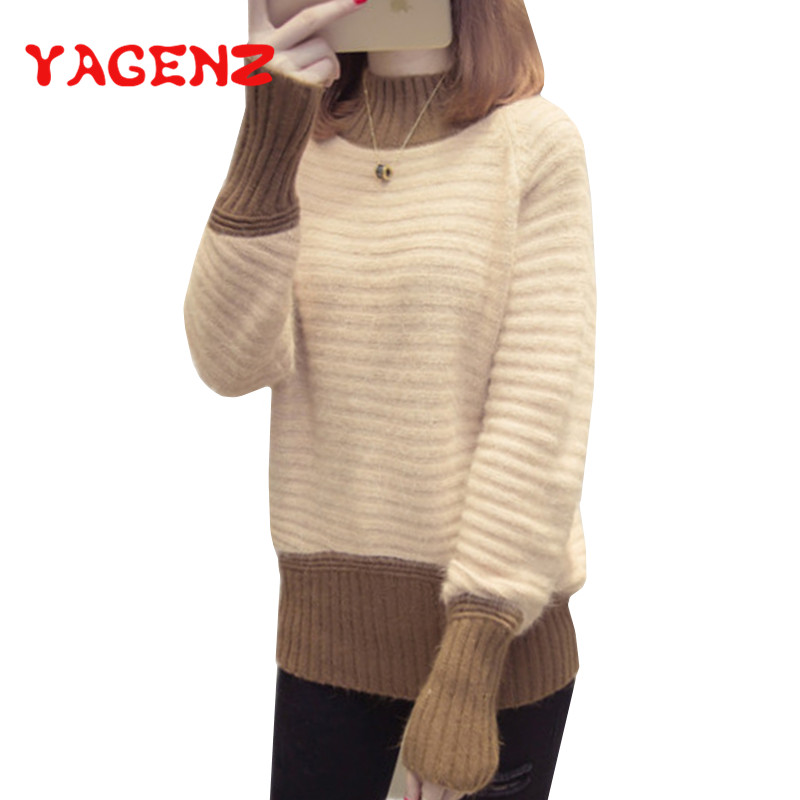 YAGENZ Autumn Fashion Women Sweater High Elastic Solid Turtleneck Sweater Women Slim Sexy Tight Bottoming Knitted Pullovers 133