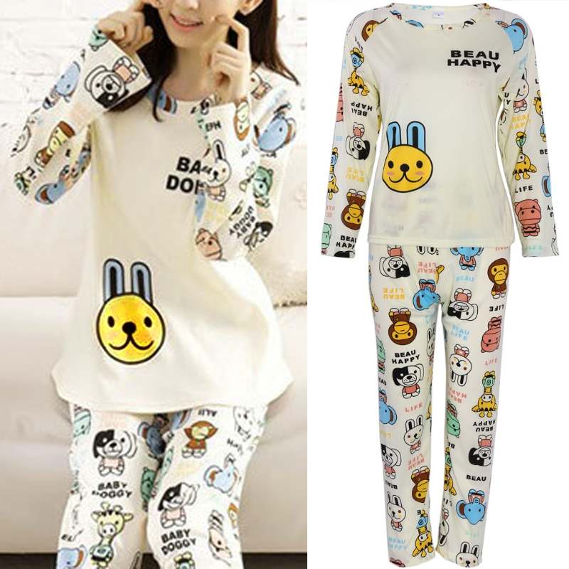 Autumn Pajamas 2018 Cotton Blend Women Letter Print Pajamas Sets Hot Sale Casual Long Sleeve Sleepwear Home Clothing cartoon