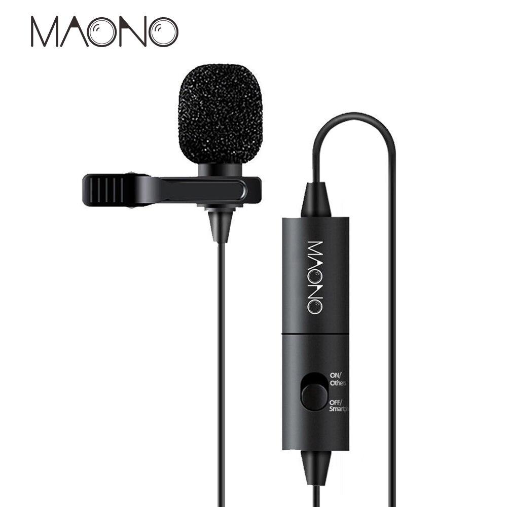 Мини конденсаторный микрофон MAONO Lavalier для цифровых зеркальных видеокамер Canon Nikon, Студийный микрофон для телефона, компьютера, ноутбука, кам...