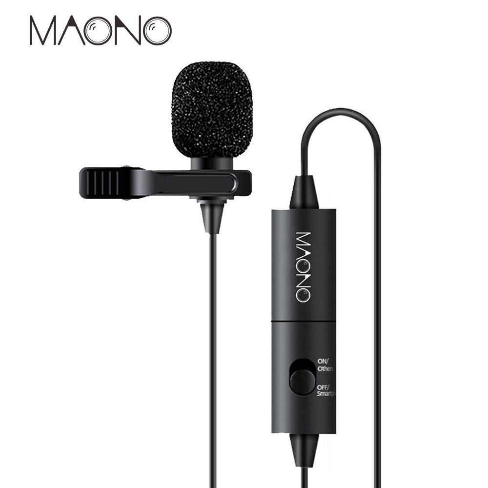 MAONO Lavalier Mini Condenser Microphone For Canon Nikon DSLR Camcorders, Studio Mic Microphone Phone Computer Laptop Camera