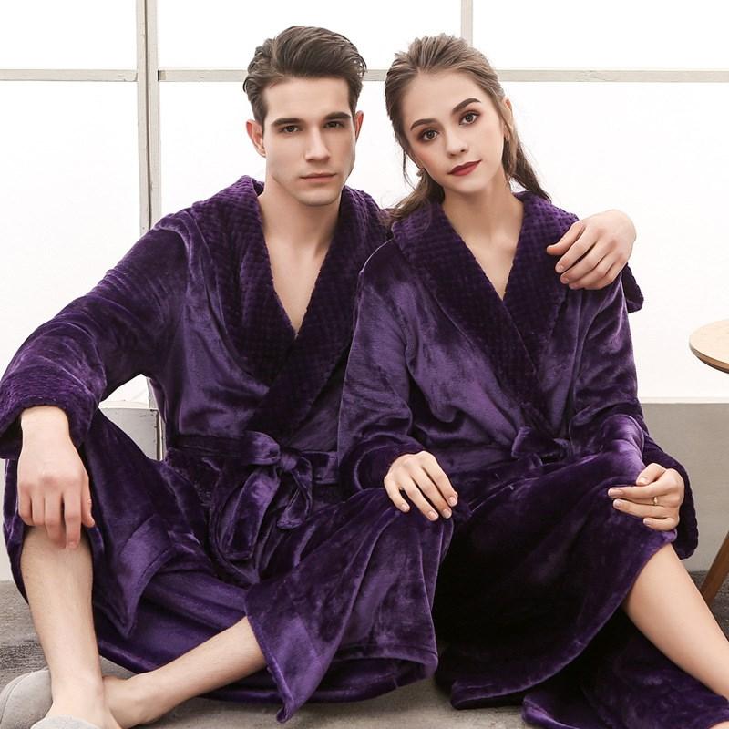 Winter Women Men Thick Warm Long Plus Size Bathrobe Flannel Kimono Bath Robe Peignoir Bridesmaid Robes Dressing Gown
