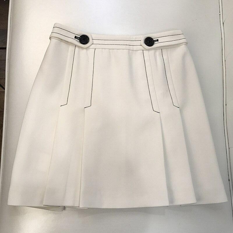 Fil Viscose Blanc Polyester Temps Ouverte breasted Court Jupe Angleterre Single Une D'été Promotion Style 2017 Personnalité Femelle Le Dans Limitée XfHZaqY