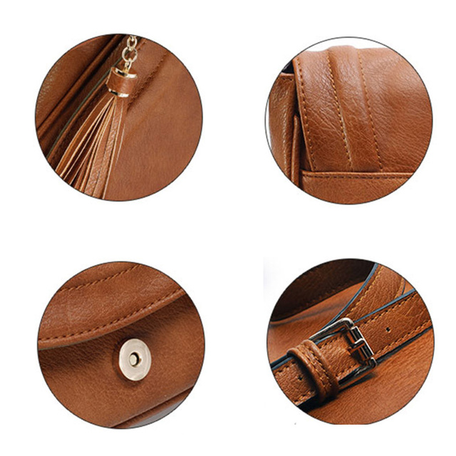AMELIE GALANTI Large Saddle Bag Crossbody Bags for Women Brown Flap Purses with Tassel Over the Shoulder Long Strap 5