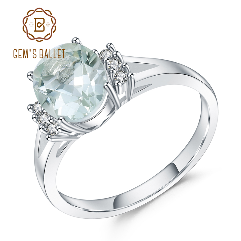 GEM'S BALLET 1.78Ct Oval Natural  Green Amethyst Gemstone Rings Pure 925 Sterling Silver Wedding Ring For Women Fine Jewelry