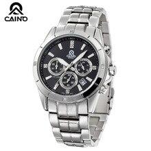 CAINO Marca de Luxo Analógico Data de Exibição do Relógio de Quartzo dos homens de Aço Inoxidável Completa Negócios Assista Men Watch 544