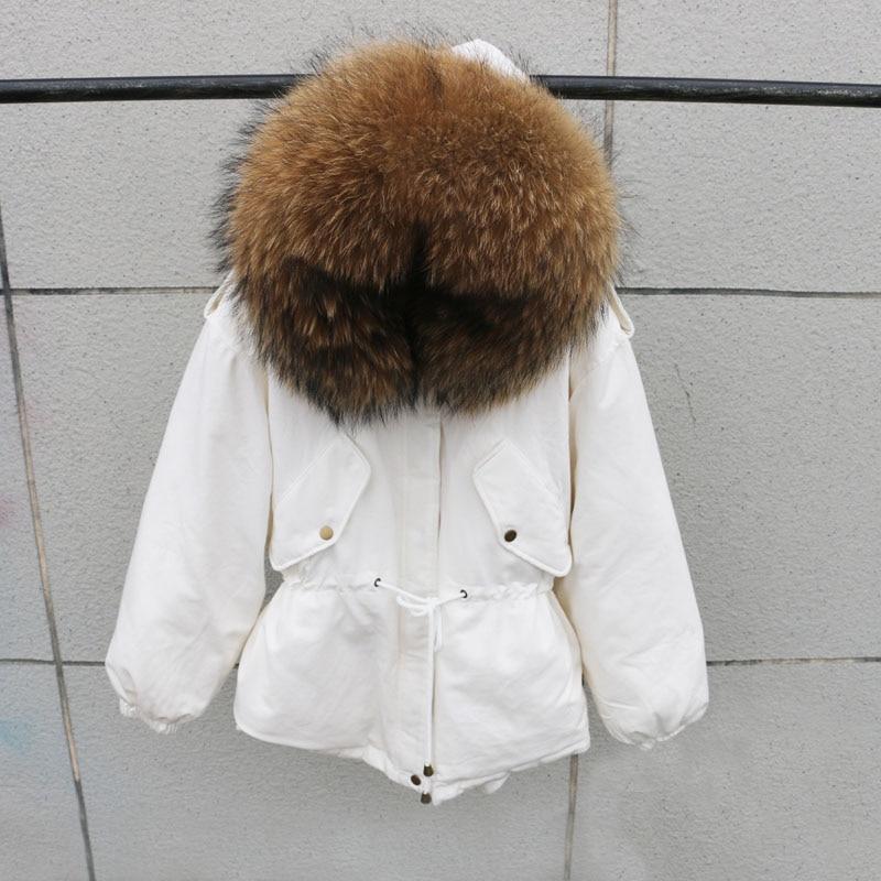 100% Natural Raccoon Fur Collar 2018 Winter Jacket Women White Duck Down Coats Warm Thick Parkas Womens Winter Jackets And Coats