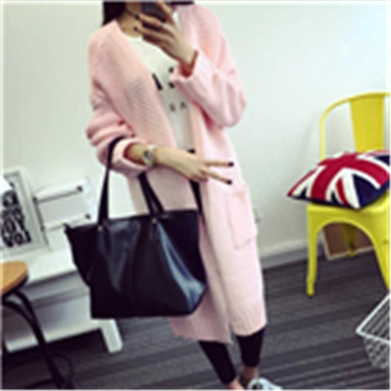 Свитера длинное пальто Для женщин свитер длинный кардиган 2018 Мода осенне-зимний стиль с длинным рукавом Свободные толстый вязаный SW308
