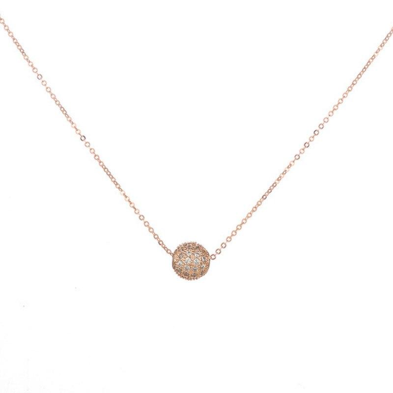 Rhinestone Pendant Necklace Fine-Jewelry Rose-Gold Gift Single-Ball Elegant Sweet Cute