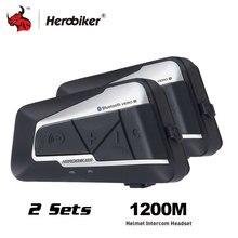 HEROBIKER del Casco Del Motociclo Citofono Impermeabile Senza Fili di Bluetooth Intercom Moto Auricolare Interfono per 2 Rides 1200 M 2 set