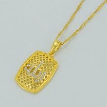Zirconia Allah Necklaces for Women,Islamic Jewelry Arab Muslim Mohammed Pendant Gold Color Jewelry #011602