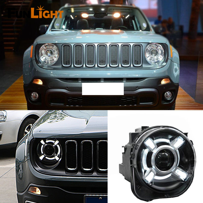 Car Headlight For JEEP Renegade 2015-17 Right/Left Composite Headlight Xenon Lamp Assembly set for Renegade H4 with White DRL right combination headlight assembly for lifan s4121200