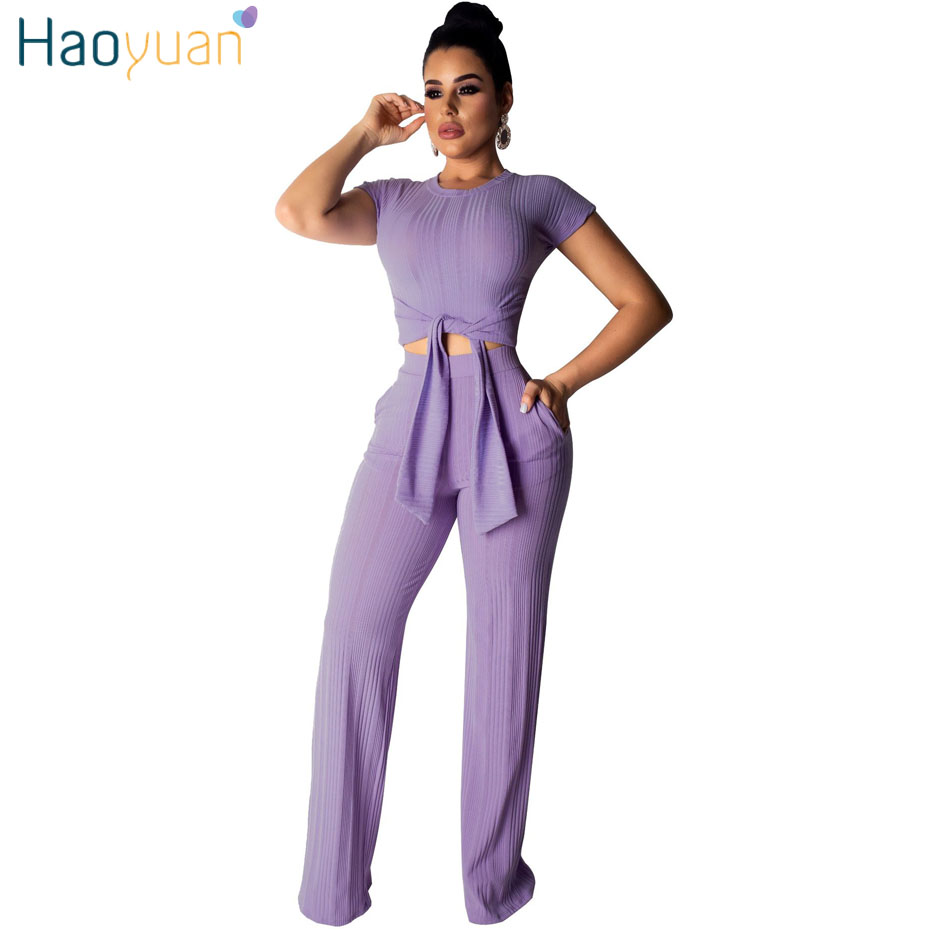 HAOYUAN Knit 2 Piece Set Women Clothes Sexy Club Crop Top And Pants Sweat Suit Two Piece Festival Summer Outfits Matching Sets