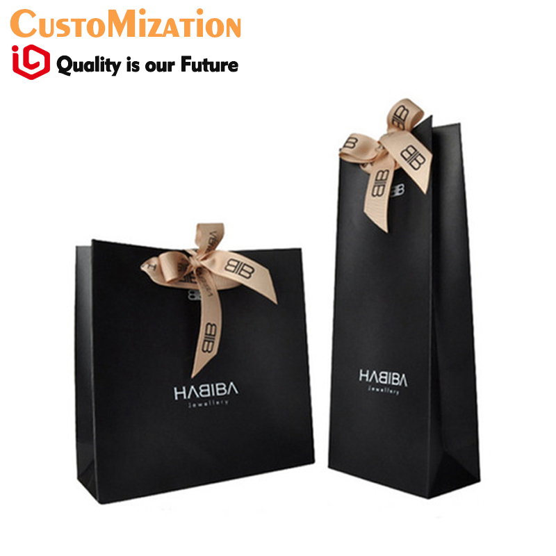 personalized composition logo printing ribbon bow black paper bag gift pakcage for jewelry display ribbon handle