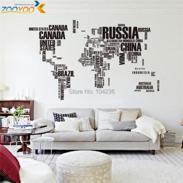 large world map wall stickers original zooyoo95ab creative letters map wall art bedroom home decorations wall