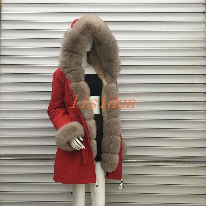 2018 lisidun pelliccia di Volpe pieno di cappotto, naturale silver fox cappotto, delle donne lunghe di usura, con cappuccio di grandi dimensioni collare capelli, Del Coniglio Del Rex fodera interna.