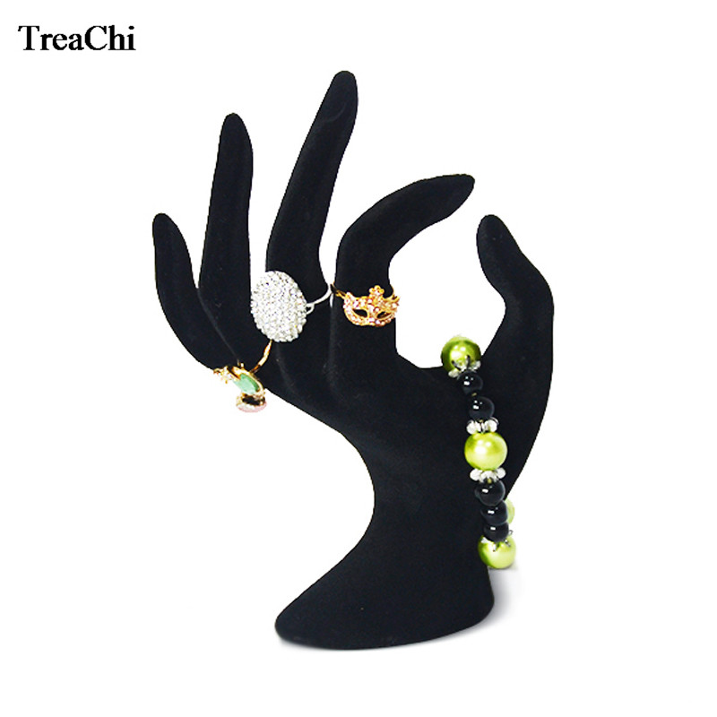 Fashion Lady OK Shaped Hand Jewelry Display Rack Black Velvet Hand Model Ring Bangle  Watch Hanging Organizer Stand 11*17cm