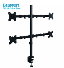 цена на Quad Arm LCD LED Monitor Stand Desk Mount Bracket Heavy Duty Fully Adjustable fits 4 /Four Screens up to 27 MD6884