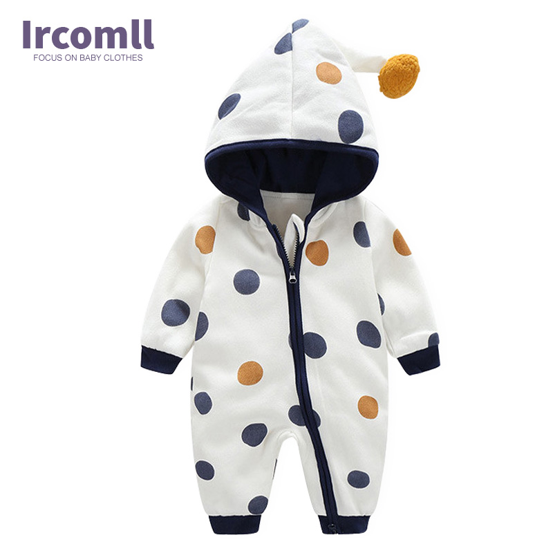 все цены на Newborn Baby Romper Kid Jumpsuit Hooded Infant Outfit Clothes Long sleeve Polka Dot Baby Rompers Overalls of Toddler body suit