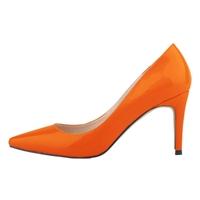 LOSLANDIFEN women's pointed toe stiletto High-heeled Shallow mouth high heels   shoes   Orange