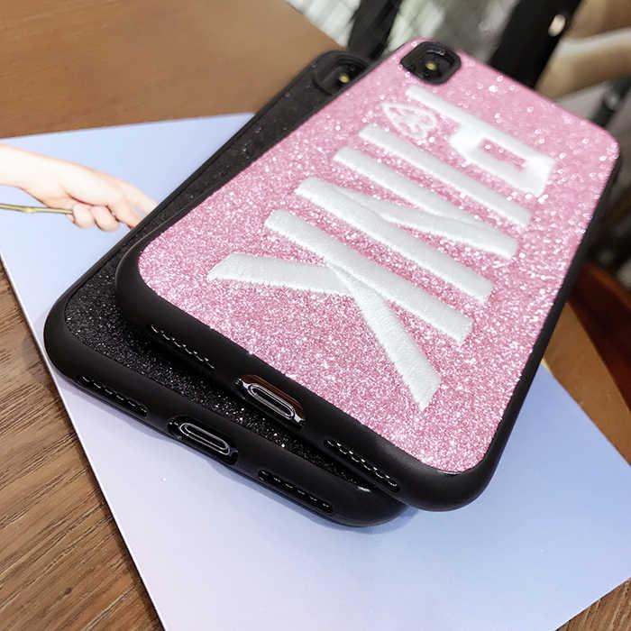 Розовый Блестящий Мягкий силиконовый чехол из ТПУ с вышивкой для iPhone 6, 6 S, 7, 8 Plus, блестящий чехол для мигания собак для iPhone X, XR, XS MAX