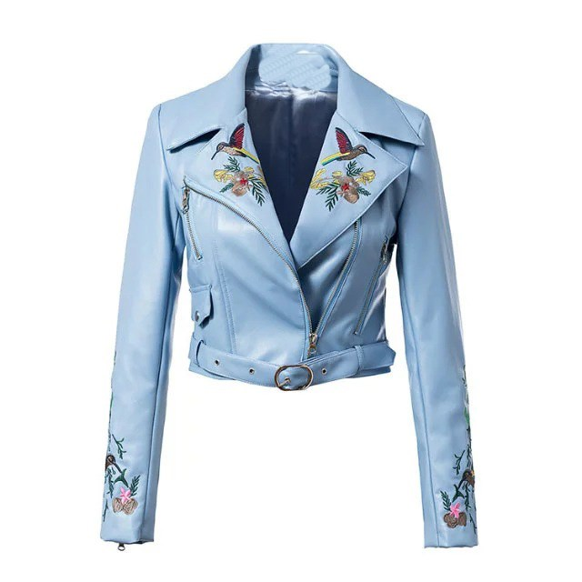Women Floral Embroidered Pu   Leather   Jacket Sashes Long Sleeve Basic Bomber Jacket Belt Short Faux   Leather   Jacket