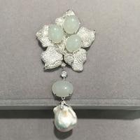 Baroque Natural fresh water Pearl pendant flower semi carneleon 925 sterling silver with cubic zircon fashion women jewelry