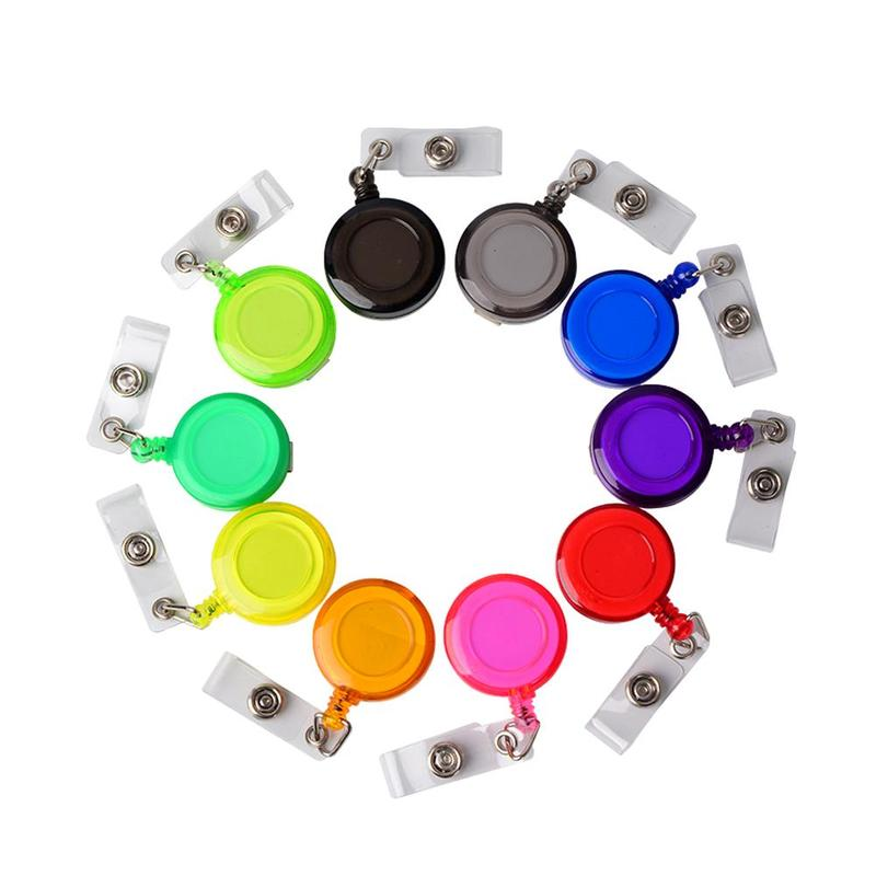 10pcs Round Badge Holder Reels Retractable Pull Badge Round Pull Buckle Card Hook Key Ring Students Stationery School Supplies