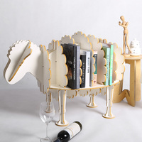 94cm (L) Creative Sheep Bookshelf Cute Wood Animal Furniture Europe Modern Design Vintage Wood Shelf for Art Home TM015M