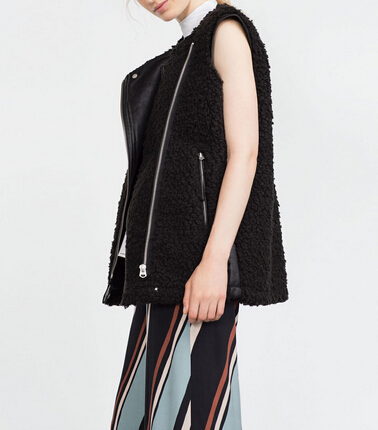 Poches Nouvelle Zip Longue Veste Biker Couture Polaire Mode Manches Fourrure Fausse En Gilet Noir Femmes Sans Cuir 2016aw gxFqUwTHT