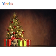 Yeele Christmas Tree Gradient Wall Gifts Bear Toy Portrait Baby Photography Backgrounds Photographic Backdrops for Photo Studio