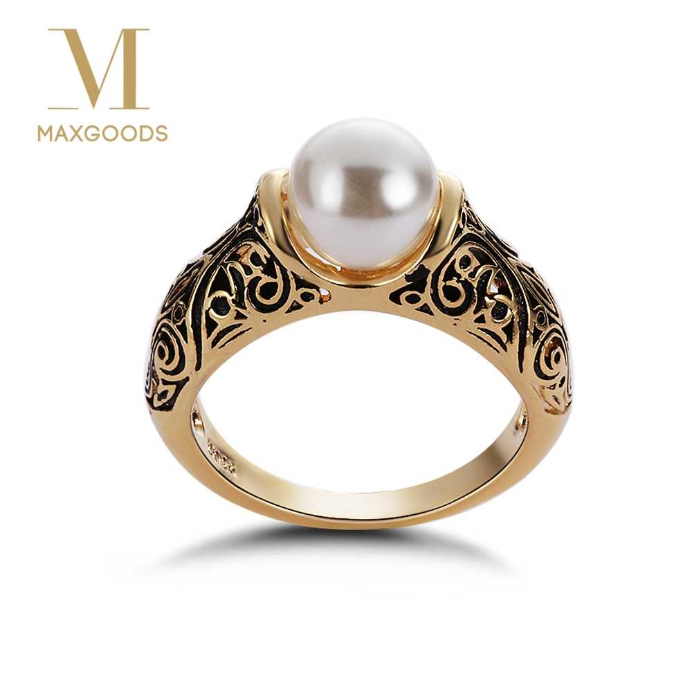 1 Pcs Vintage Ring for Women Artificial White Pearl Ring Wedding Engagement Ring Carved flower Gold Color Ring Jewelry