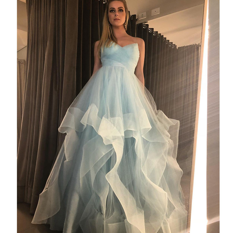 Tiered Tulle   Prom     Dresses   2019 Long Sexy Spaghetti Straps Ruched Blue White Evening Formal   Dress   Cheap Wedding Party Gowns