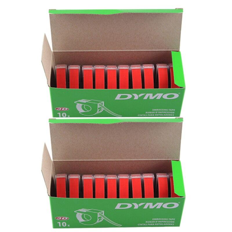 20 Pz/lotto 9mm * 3 m Compatibile DYMO 3D di Plastica Goffratura Etichette S0847700 stampa in Bianco su Rosso per Goffratura Label Makers