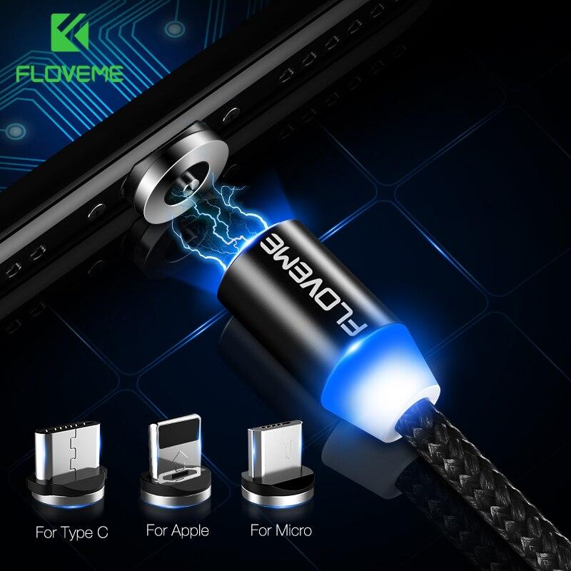 FLOVEME LED câble magnétique pour éclairage Micro USB type C câble de téléphone pour iPhone X Xr Xs Max 1 m 2 m 2A chargeur d'aimant de Charge rapide