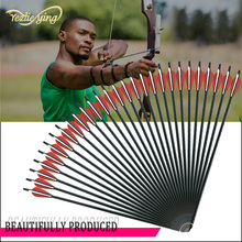 24PCS 17/18/20/22Inch Crossbow Bolt Carbon Arrow with Red White Feather and Detachable Outdoor Hunting Archery