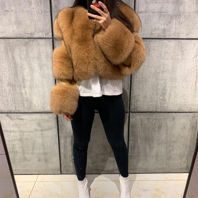 سيدة الفراء سترة النساء الفراء الحقيقي سترة الطبيعي الثعلب الفراء أبلى-في فراء حقيقي من ملابس نسائية على  مجموعة 1