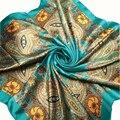 Buen Negocio Moda Mujeres Verde Bufandas Grandes del Tamaño el 90x90 cm Suave Imitado de Seda Cuadrado de La Vendimia Chal Bufanda de la Señora regalo 1 UNID