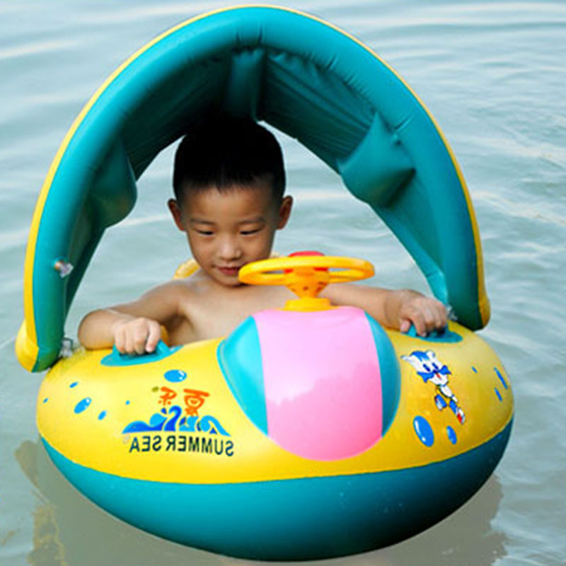 Large Outdoor Toys Children Inflatable Sunshade Boat Baby Swimming Ring Water Toys