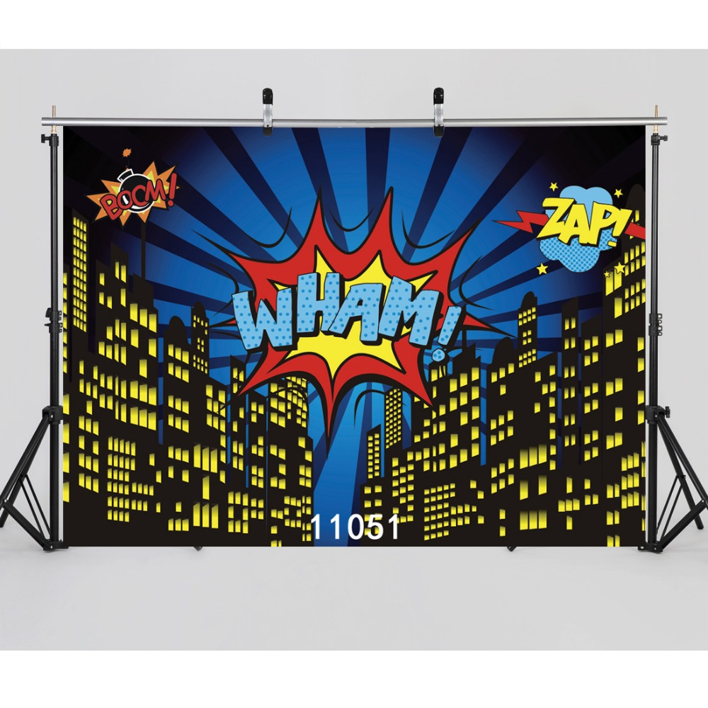 SJOLOON WHAM party background super hero city scene photography background kids photography backdrop vinyl photocall studio prop