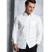 Hot sale new autumn men's shirts single-breasted pure color long sleeve shirt business high quality wedding the groom shirt