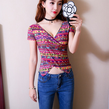 цена на Woman Plus Size Short Sleeve T Shirt New Woman Korean Edition Floral Print Deep V-neck Sexy Club T Shirt Slim Fit Dance T Shirt